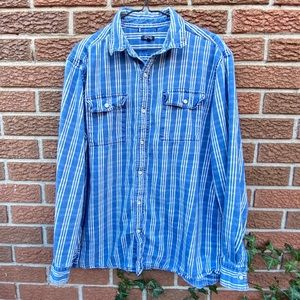Denim Patterned Button Up Shirt